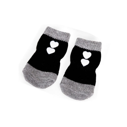 Calcetines para perros Happy Heart antideslizantes negros