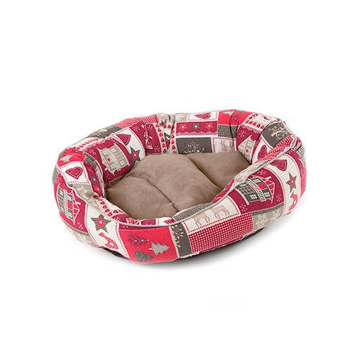 Cama para perros y gatos Technical Pet Christmas Joy con forma de donut