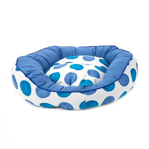 Cama para perros TK-Pet Magic donut con lunares azul