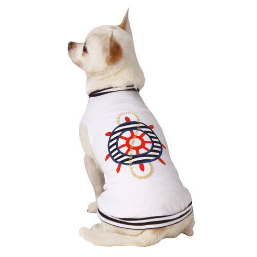 Camiseta fresca blanca Marinero para perros
