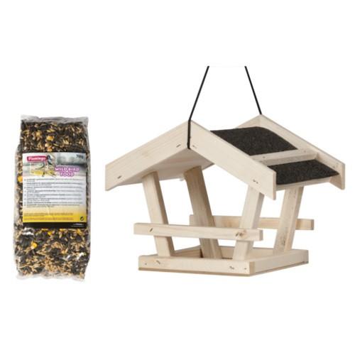 Casa colgante con comida para aves