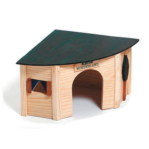 Corner wood house for rodents