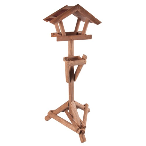 Casa rústica de madera para aves con soporte
