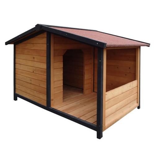 Caseta de madera para perros tk pet rocky con patio - Hacer caseta de madera ...