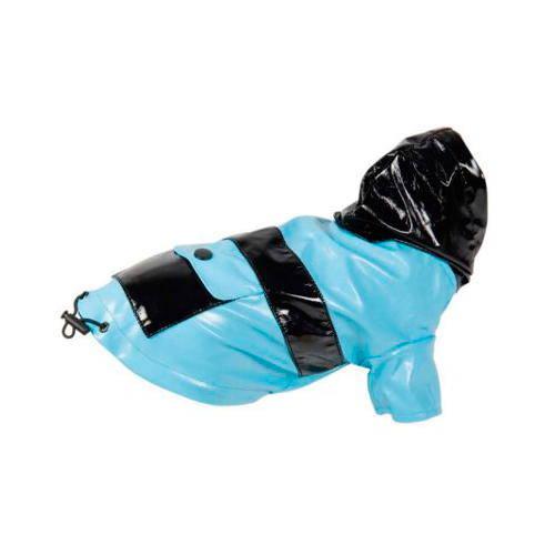 Chubasquero de charol azul con bolsillo para perros