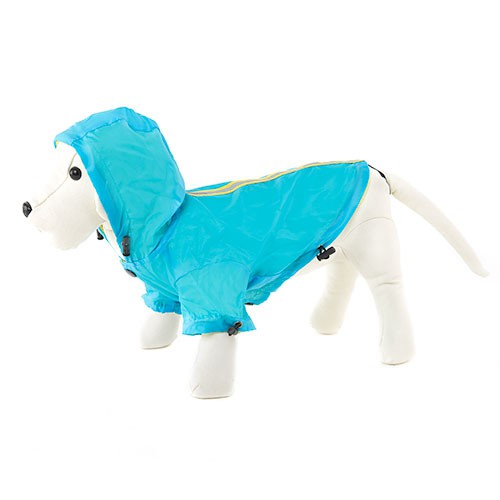 Blue reflecting raincoat for dogs