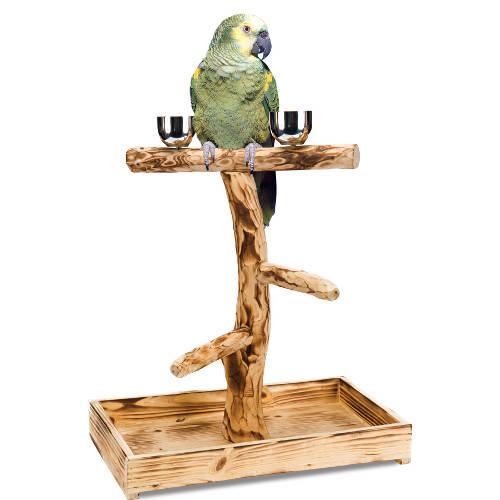 Colgador para aves de madera natural con forma de árbol