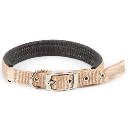 Collar acolchado para perros de nylon Basic Confort Color Beige