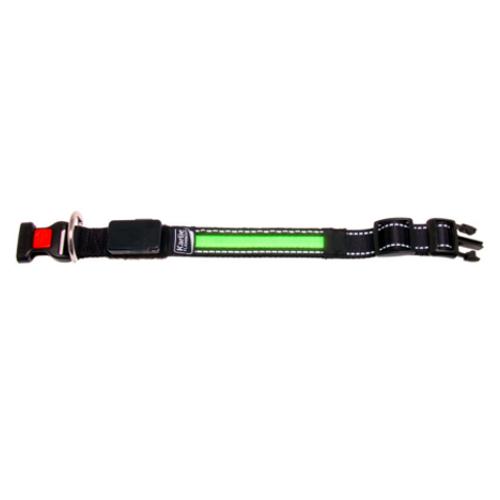 Collar con banda LED verde con cargador USB