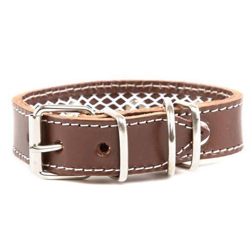 Collar de cuero protector de collar antiparasitario para perros Color Marrón