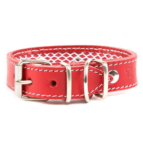 Protective leather collar for flea collars Colour Red