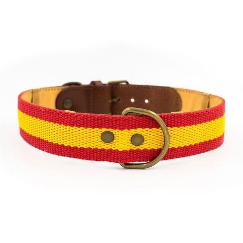 Collar España hecho a mano para perros color Rojo/Amarillo