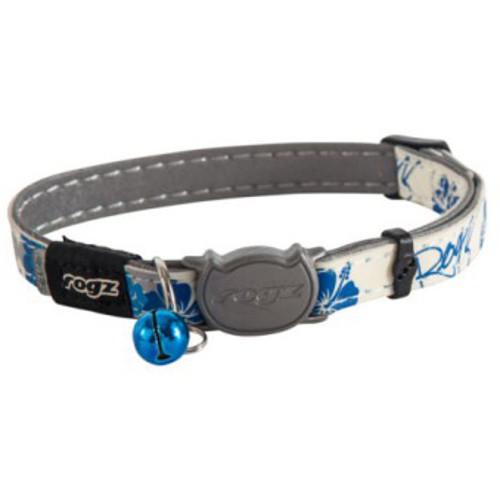 Collar fluorescente para gatos Rogz Glowcat con letras estampadas azules