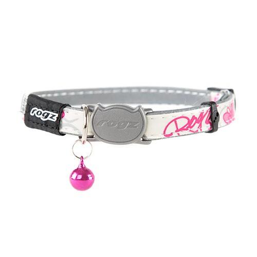 Collar fluorescente para gatos Rogz Glowcat con letras estampadas rosas