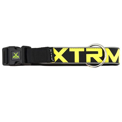 Collar de nylon con reflectante X-TRM Neon Flash negro para perros