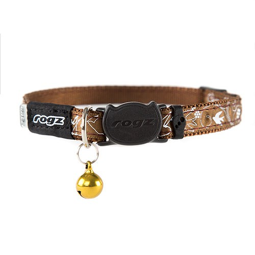 Rogz Silkycat brown necklace with printed letters for cats
