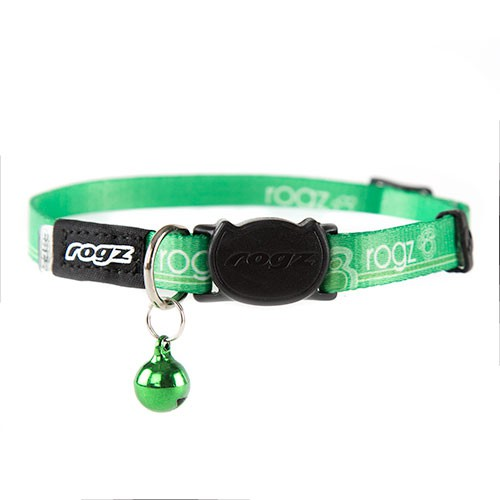 Rogz Kiddycat green nylon necklace with bell for cats