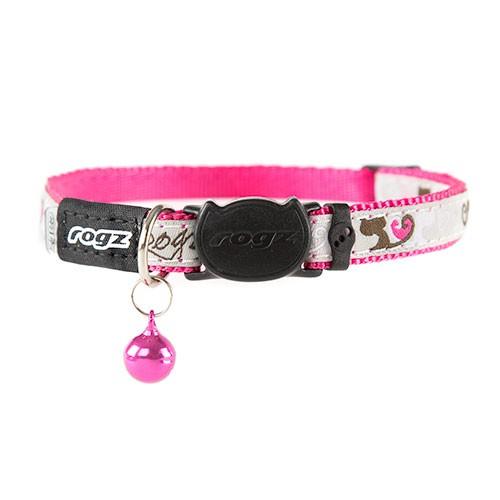 Collar para gatos rosa Rogz Fancycat con cascabel