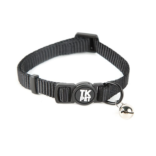 TK-Pet Classic Nylon Black necklace for cats with bell