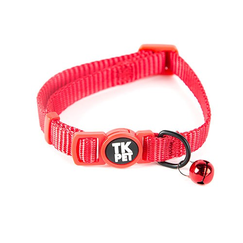 Collar para gatos TK-Pet Classic Nylon rojo con cascabel