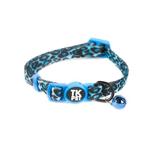 Collar para gatos TK-Pet Safari pantera azul con cascabel