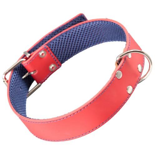 Collar para perro de cuero cosido ancho Color Rojo