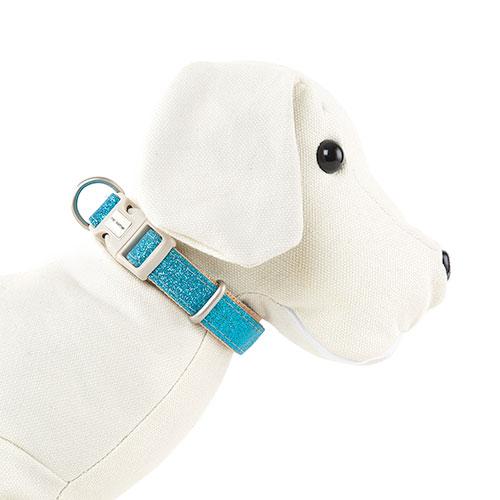 Collar para perros MacLeather con purpurina azul