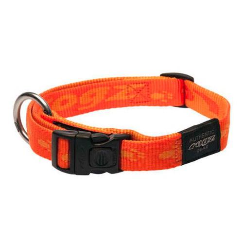 Collar para perros Rogz Alpinist naranja con letras estampadas