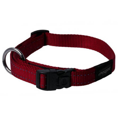 Collar para perros Rogz Utility rojo con costura reflectante