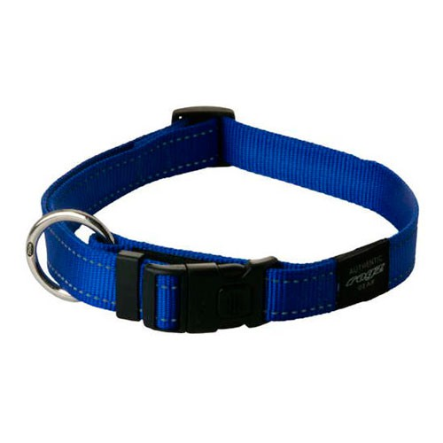 Collar para perros Rogz Utility azul con costura reflectante