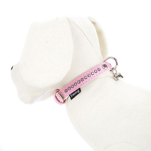 Collar polipiel rosa con strass brillantes para perras elegantes
