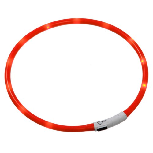 Collar LED recargable por USB Visio Light rojo