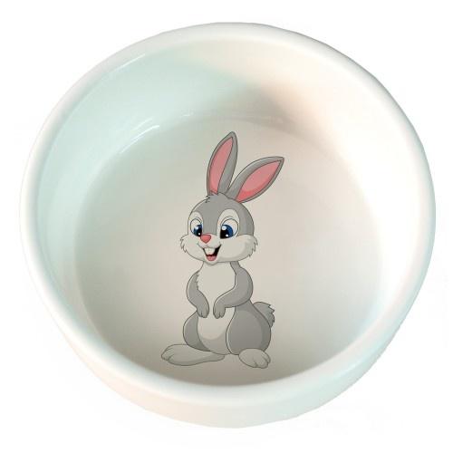 Comedero  Conejito de cerámica para roedores color Blanco