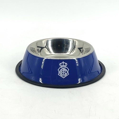 Comedero-bebedero para mascotas escudo Recreativo de Huelva color Azul