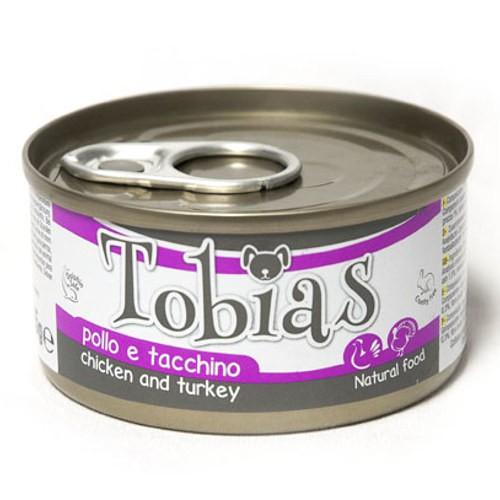 Comida húmeda natural de pollo y pavo Tobias perro