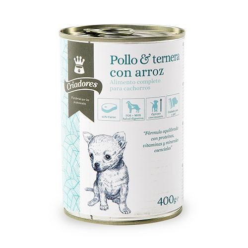 Comida húmeda para cachorros Criadores de pollo y ternera con arroz