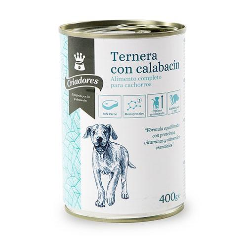 Comida húmeda para cachorros Criadores de ternera con calabacín