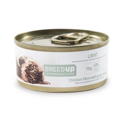 Comida húmeda para gatos Breed Up Light de pollo con judías