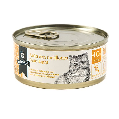 Comida húmeda para gatos Criadores Light de atún con mejillones