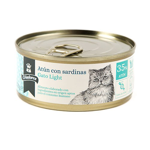 Comida húmeda para gatos Criadores Light de atún con sardinas
