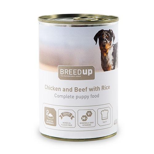 Comida húmeda para perros Breed Up Puppy de pollo y ternera con arroz