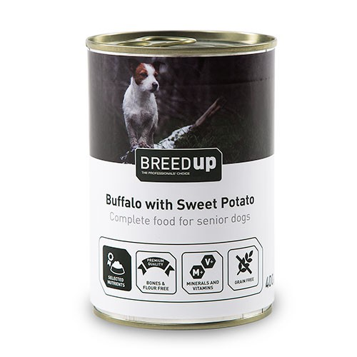 Comida húmeda para perros Breed Up Senior de búfalo con batata