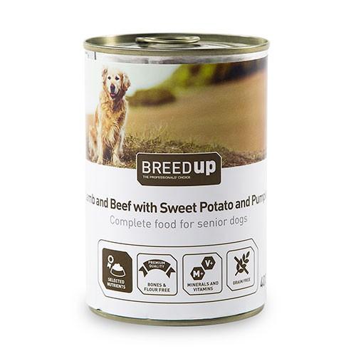 Comida húmeda para perros Breed Up Senior de cordero y ternera con batata y calabaza