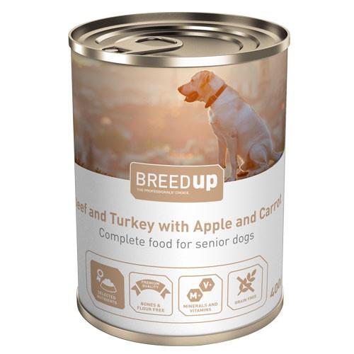 Comida húmeda para perros Breed Up Senior de ternera y pavo con manzana y zanahoria
