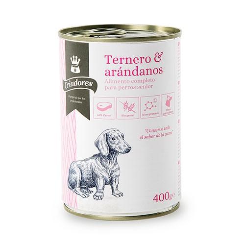 Comida húmeda para perros senior Criadores de ternera con arándanos