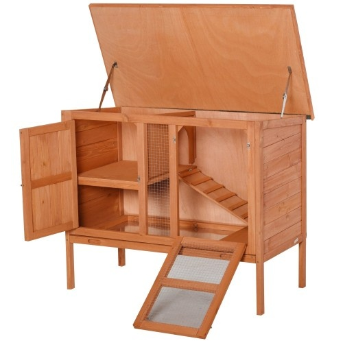 Conejera de exterior de madera natural de 2 pisos para conejos, cobayas y hámsters