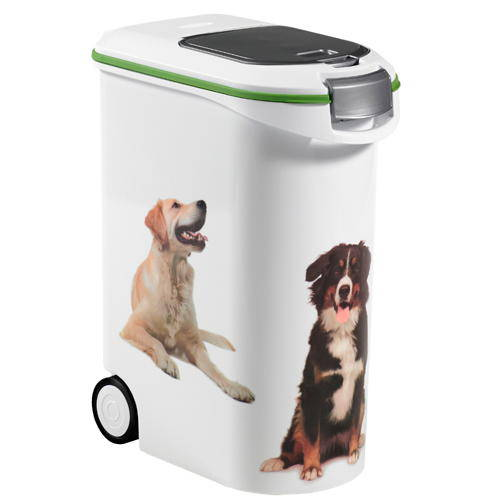 Pet dry food container with wheels
