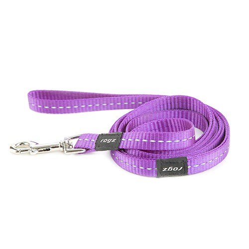 Correa para perros Rogz Utility lila con costura reflectante