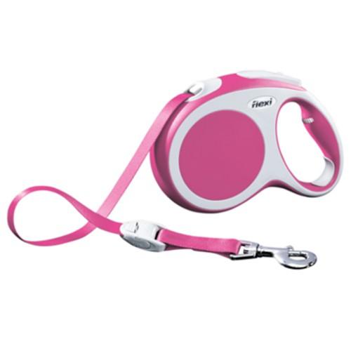 Flexi Vario correa extensible para perros de cinta color rosa