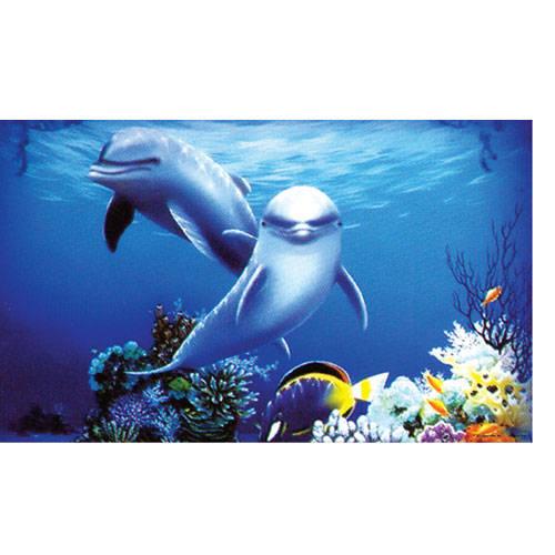 Fondo en 3D para acuarios Póster Delfines